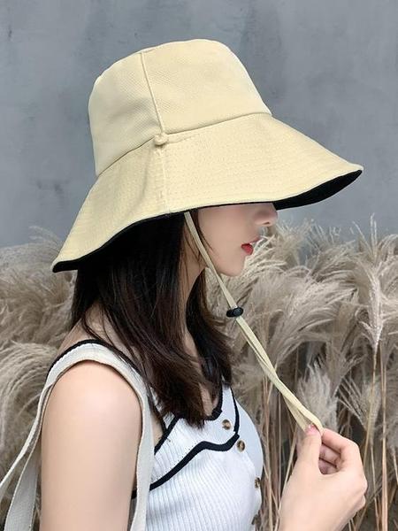 牛仔帽漁夫帽女夏韓版潮日系網紅雙面遮臉防紫外線帽子大沿防曬帽遮陽帽 嬡孕哺