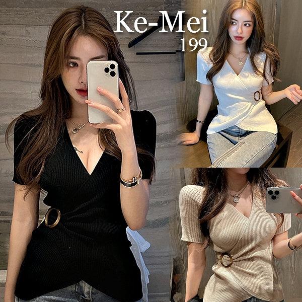 克妹Ke-Mei【AT65222】韓國名媛深V交叉美胸釦環短袖針織上衣
