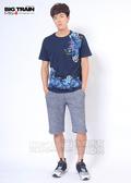BIG TRAIN 和柄棉質短褲-男-深藍/黑