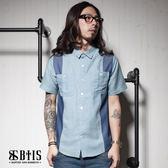 【BTIS】條紋單寧側身 拼接襯衫 / 淺藍色