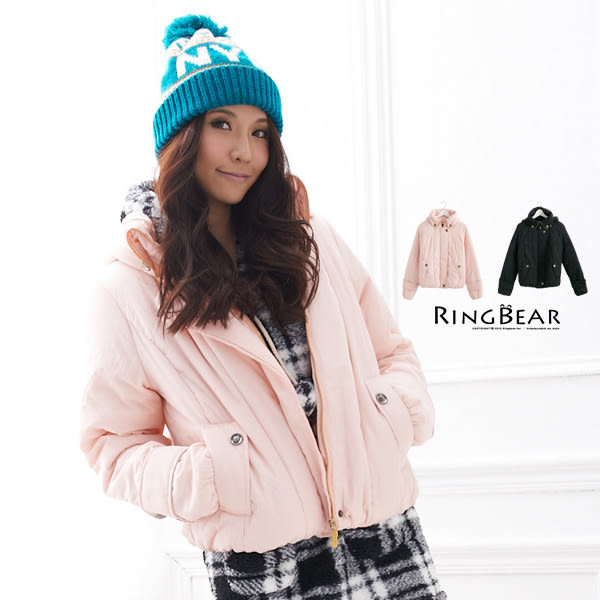 外套--展現潮流魅力帽子可拆造型領鋪棉外套(黑.粉M-XL)-J151眼圈熊中大尺碼