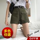 【DIFF】韓版寬鬆顯瘦多口袋高腰牛仔短...