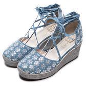 DIANA 夢幻狂想曲--花漾率性丹寧交叉綁帶楔型鞋-淺藍★特價商品恕不能換貨★
