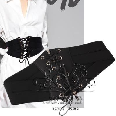 (中秋特惠)腰帶女士裝飾配飾復古彈性高腰連身裙洋裝正韓黑色超寬腰封綁帶女彈力