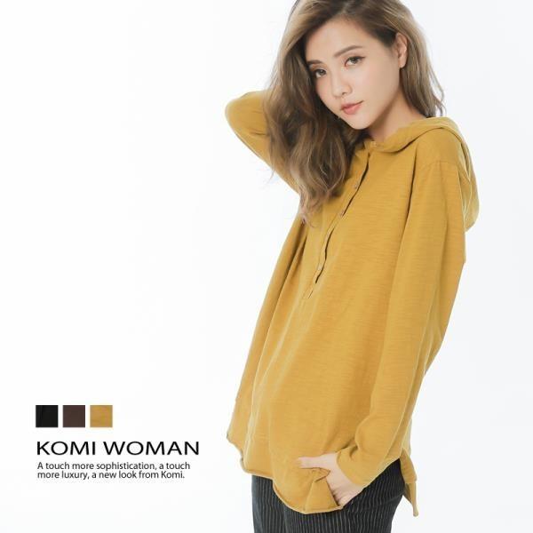 【南紡購物中心】KOMI-素色連帽竹節棉半開襟上衣‧三色