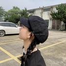 黑色鴨舌貝雷帽女夏季薄款韓版潮網紅畫家帽英倫復古個性八角帽子 喵小姐