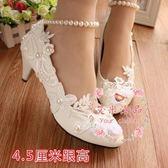 婚鞋 白色中跟伴娘鞋 蕾絲珍珠演出軟皮禮服鞋
