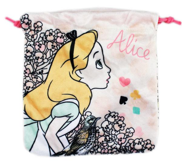 【卡漫城】 愛莉絲 束口袋 粉 ㊣版 絨毛 收納袋 小提包 萬用包 相機 手機袋 愛麗絲 夢遊仙境 Alice
