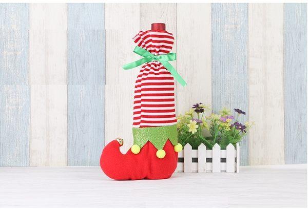 聖誕節創意精靈酒瓶袋/禮品袋/裝飾品 圓點條紋