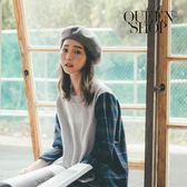 Queen Shop【01130100】毛料拼接格紋上衣*現+預*