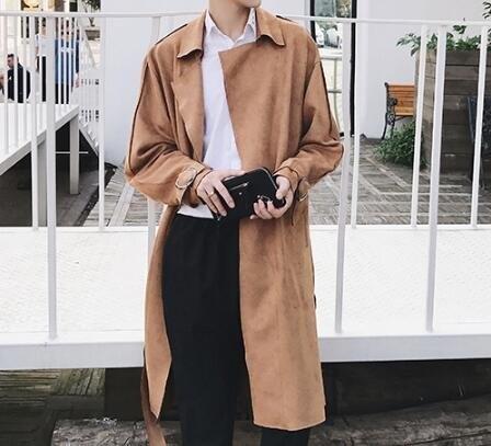 FINDSENSE Z1 韓國 時尚 潮 男 寬鬆 鹿皮絨 重疊設計 純色 風衣