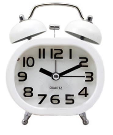 3吋橢圓立體數字靜音雙耳鬧鐘