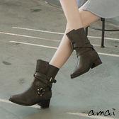 amai作舊感交叉皮帶金屬釦環中筒工程靴 卡其