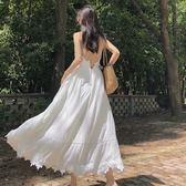 露背洋装 韓版復古重工藝度假風超大裙擺飄逸露背仙女吊帶連身裙