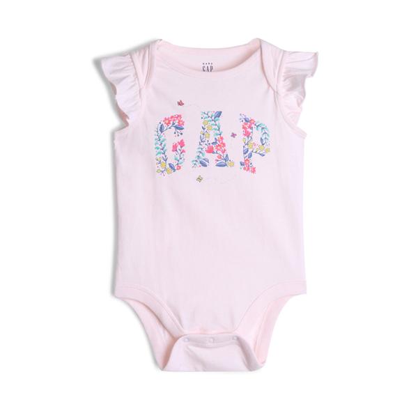 Gap女嬰棉質舒適按扣式連體衣544019-淡粉色