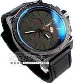 CURREN 三眼造型潮流時尚 日期顯示 男錶 大錶盤 飛行錶 學生錶 數字錶 工業風 大錶面 黑 CU8230黑