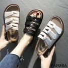 PAPORA三釦休閒厚底涼拖鞋KP7白/米/黑