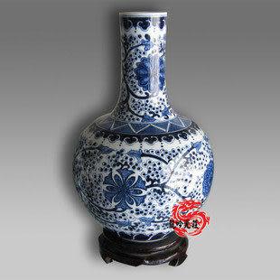 手繪青花瓷明清宮廷 天球瓶