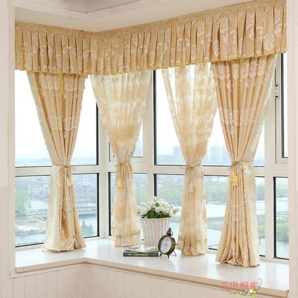 簡約現代歐式客廳臥室平面成品落地飄窗全遮光窗簾布窗
