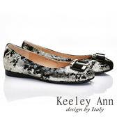 ★零碼出清★ Keeley Ann 高貴奢華~大方金屬釦全真皮獨特造型軟墊平底鞋(金色)