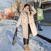 梨卡 - 甜美氣質牛角扣中長版防風保暖毛呢立領外套風衣長大衣/2色AR015