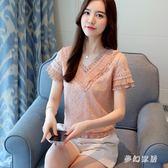 2019新款韓版百搭短袖蕾絲雪紡洋氣潮流休閒上衣 QW4167『夢幻家居』
