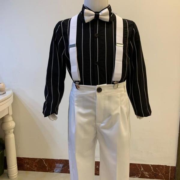 男童禮服夏秋白色吊帶褲套裝黑色襯衫兒童鋼琴演出服花童小主持人 幸福第一站