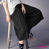 【SHOWCASE】時尚修身前褶鬆緊雪紡寬褲(黑色)