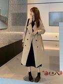 風衣外套 秋季黑色英倫風中長款外套大衣女2020新款寬鬆韓版氣質小個子風衣 VK3040