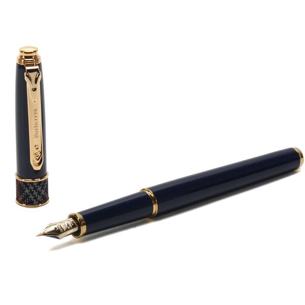 BURBERRY經典格紋點綴14K金F細字筆尖鋼筆(藍色)086005-2