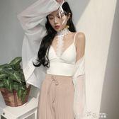 時尚韓版性感掛脖蕾絲短款露臍吊帶背心帶胸墊打底上衣女 道禾生活館