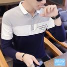 【Y204】shiny藍格子-潮流話題.秋季撞色字母長袖POLO衫