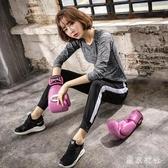 夏季新款瑜伽服套裝長袖上衣哈倫褲健身運動跑步服寬鬆大碼 QQ21184『東京衣社』