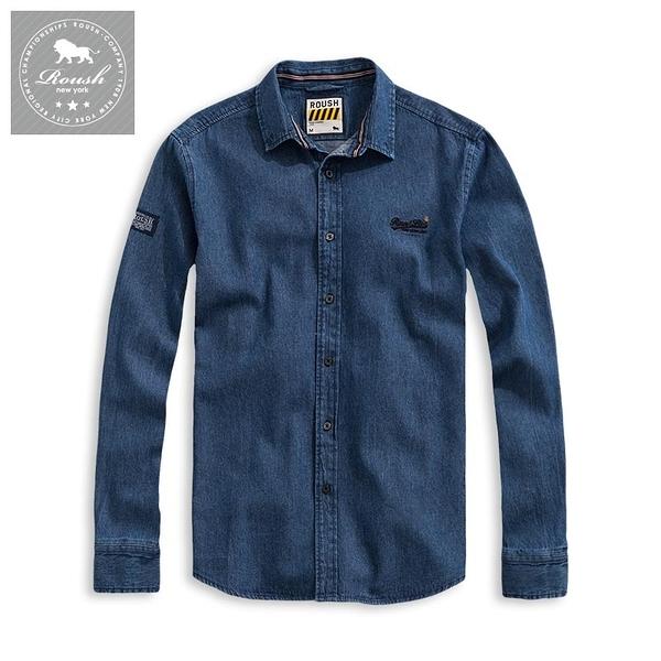 【Roush】 小領片水洗牛仔襯衫 -【915619】