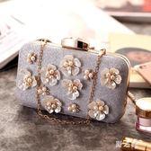 包包女2018新款歐美時尚宴會手拿包花朵珍珠休閒女式小方包禮服宴會包 KB6679【野之旅】
