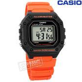 CASIO / W-218H-4B2 / 卡西歐 復古方型 計時碼錶 LED照明 鬧鈴 電子 橡膠手錶 橘色 42mm