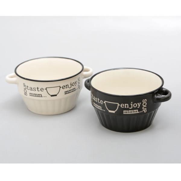 [Zak-ka] Enjoy cafe 咖啡主題雙耳濃湯碗 白.黑 1入 / 430ml
