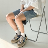 牛仔短褲 潮牌毛邊牛仔短褲男韓版寬鬆夏季五分褲潮流直筒薄款ins百搭 LW784