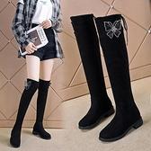 長筒靴女過膝靴2021新款秋冬加絨百搭顯瘦彈力靴平底中跟高筒女靴3C數位百貨