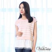 Victoria 印條下襬異材質拼接短袖T-女-霧粉印白條-Y8508311