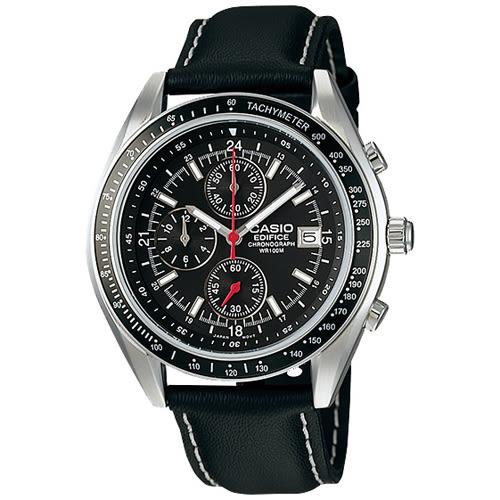 EDIFICE 經典時尚率性十足賽車皮帶錶-黑