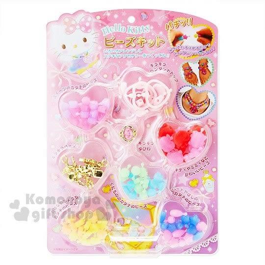 〔小禮堂〕Hello Kitty 串珠材料玩具組《粉.愛心.泡殼裝》適合6歲以上孩童 4901610-00463