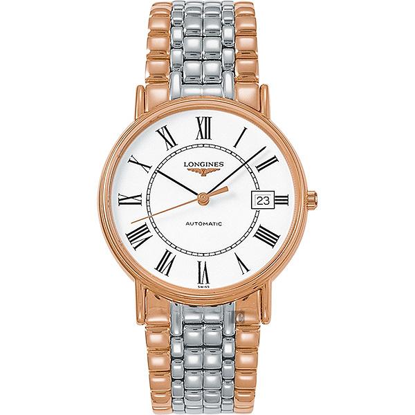 LONGINES浪琴 Presence 經典羅馬機械錶-白x雙色/38.5mm L49211117