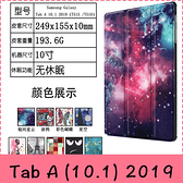 【萌萌噠】三星 Tab A (10.1吋) 2019版 T510 T515 彩繪多折保護套 側翻皮套 卡通塗鴉 三折支架 平板套