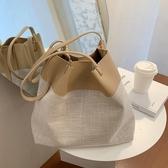 包包女2020新款潮百搭側背手提包網紅大容量托特包洋氣編織水桶包 伊蘿