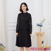 【RED HOUSE 蕾赫斯】蕾絲素面洋裝