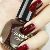 指甲油 Sweet Color環保無毒指甲油持久不可剝防水黑酒紅色車厘子不掉色