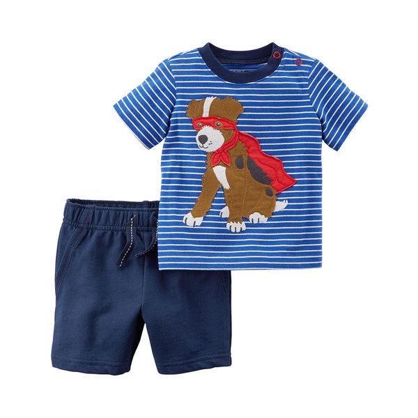 美國Carter's卡特童裝 男寶寶 短袖肩扣T恤上衣&休閒棉褲 藍狗狗【CA229G690】