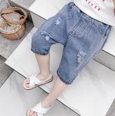 棉小班兒童七分褲男童褲子夏裝2019新款牛仔褲男寶寶時尚破洞短褲