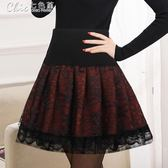 半身裙裝蓬蓬裙百搭鬆緊高腰顯瘦a型褶皺裙焦糖色裙褲女「Chic七色堇」